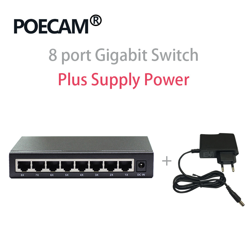 8 Port Network Ethernet Switches Desktop Gigabit Switch RJ45 UTP Interface 10/100/1000mbps Optional Plastic Shell Steel Case