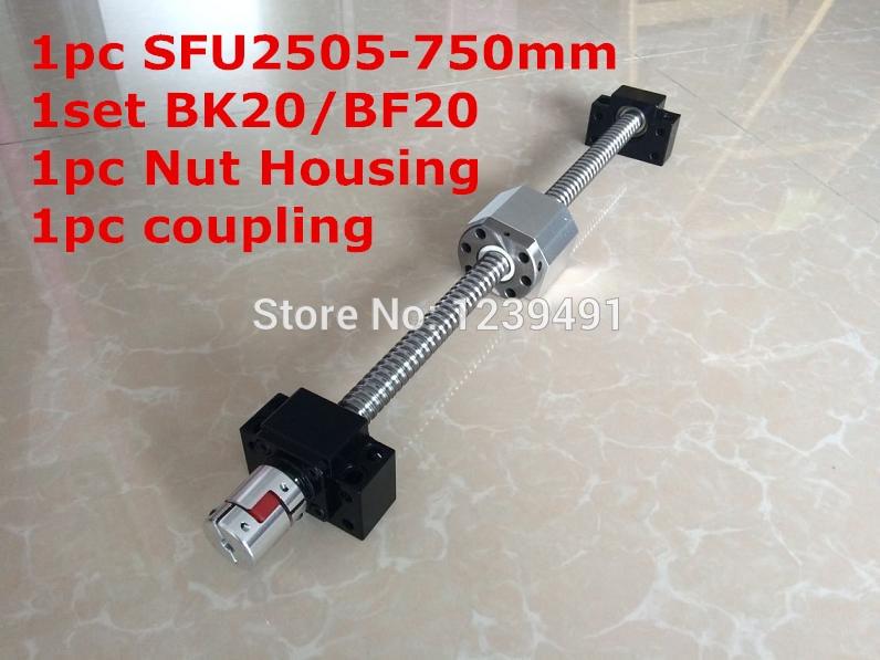 SFU2505-750mm Ballscrew with Ballnut + BK20/ BF20 Support + 2505 Nut Housing +  17mm* 14mm  Coupling CNC parts tbi 2505 c3 800mm ballscrew 5mm lead ground with sfu2505 ballnut