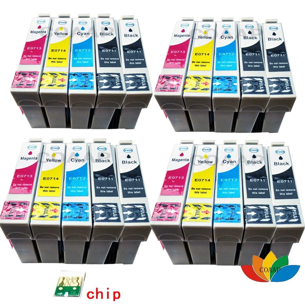 20x T0711 T0712 T0713 T0714 Kompatible tintenpatronen für Epson stylus DX4050 DX4400...