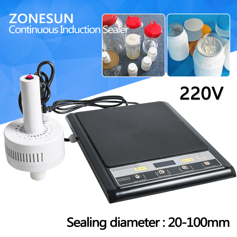 ZONESUN 220V 500E Manual Electromagnetic Induction Aluminium foil Packing Sealing Machine Portable Plastic Sealer 15-100MM household vacuum packaging sealing machine sealer wet and dry use 30cm 110w 220v
