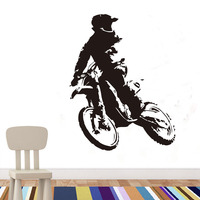Motor Cross Wall Sticker Vinyl Self Adhesive Motorbike Wall Decal Waterproof Art Decals For Boys Rooms Home Decor Accessories