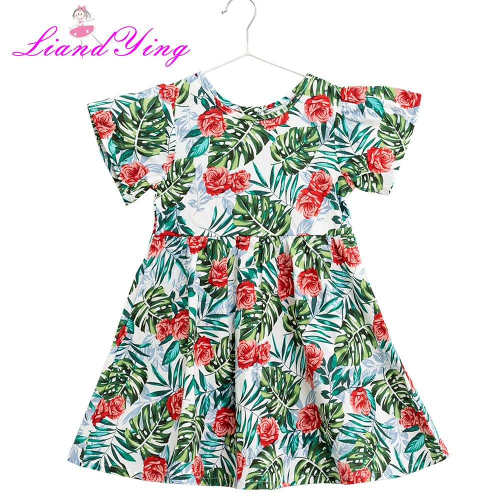 Children Fashion Girl In Tropical Turquoise Beach: Baby Girls Dress Brand Summer Beach Style Floral Tropical