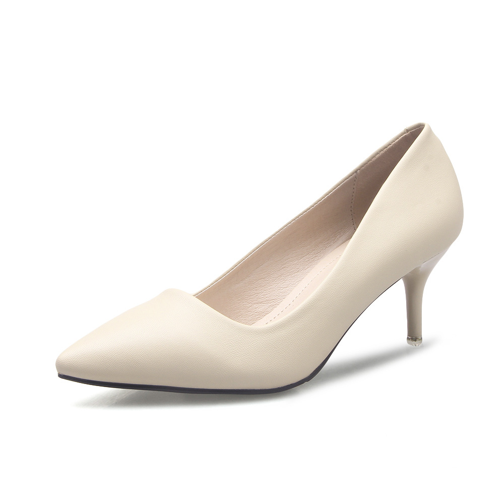 ФОТО New Spring Women Pumps Thin High Heel Pointed Toe Slip On Summer Imitation leather Sexy White Ladies Wedding Shoes Size 34-39