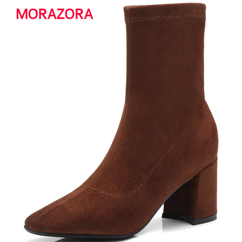 MORAZORA 2018 new autumn winter square heel ankle boots for women stretch fabric+suede leather boots high heel Martin Boots 2015 autumn shiny piece fight color stretch fabric square head women s boots flat boots in europe and america tide personality