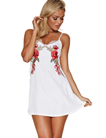 Blooming Jelly White Black Spaghetti Strap Dress Sexy V Neck Dress Backless Floral Embroidered Lace Patchwork