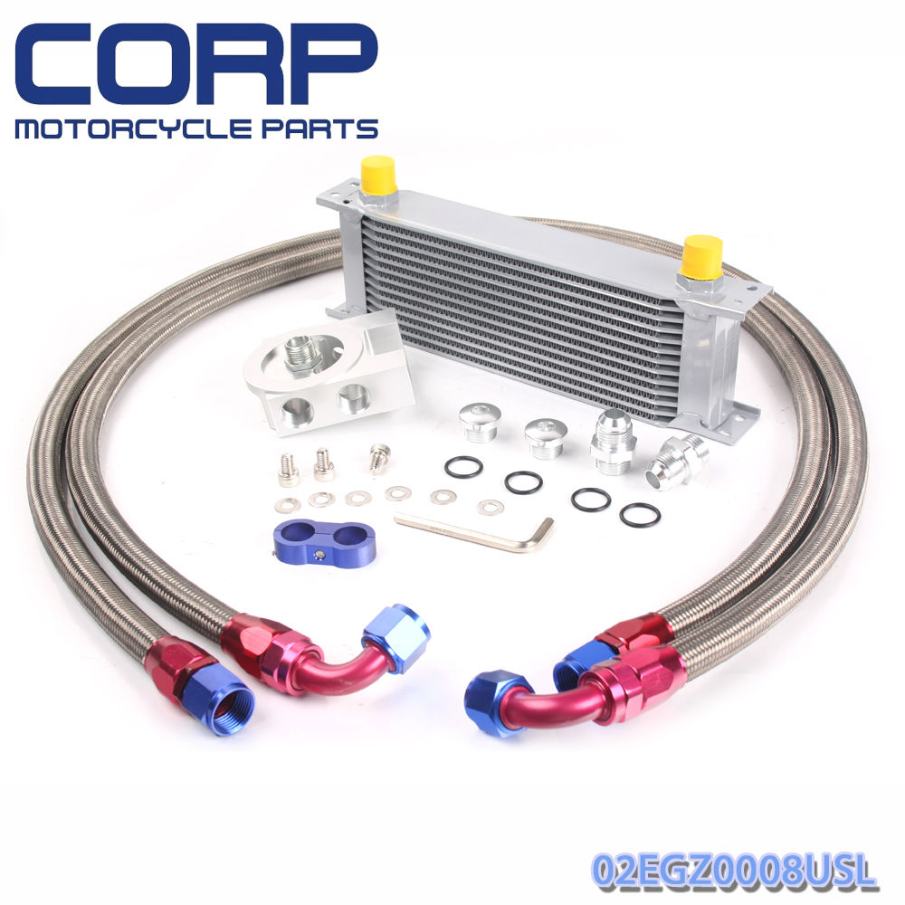 Universal 13 Row JDM Engine Oil Cooler + Remote Oil Filter + AN10 Oil Lines Kit pqy racing universal 30 row an10 engine transmiss oil cooler kit filter relocation blue page 4