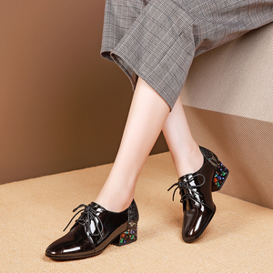 Image 5 - Women summer high heels fashion genuine leather pumps spring thick heels shoes square toe laces heel woman shoes 2020