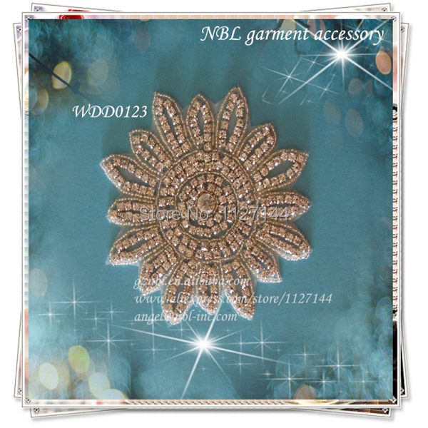 (30 pièces) cristal perlé strass fleur applique patch pour mariage robe de soirée fer bricolage sur WDD0123