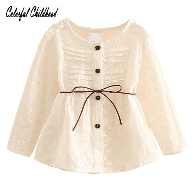 645817f36c7 Spring autumn girls cotton long sleeve shirts lace belt design baby girls  princess blouse toddler casual tops children clothes