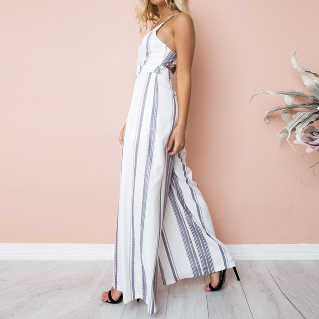 Womail bodysuit Women Summer Sleeveless Strip Jumpsuit Print Strappy Holiday Long Playsuits Trouser Fashion 2019 dropship f28 6