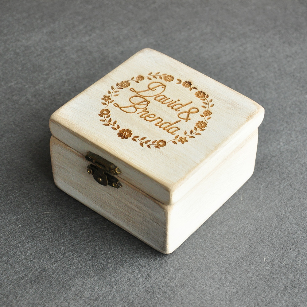 Rustic wedding ring box custom wedding ring bearer box for Personalized wedding rings