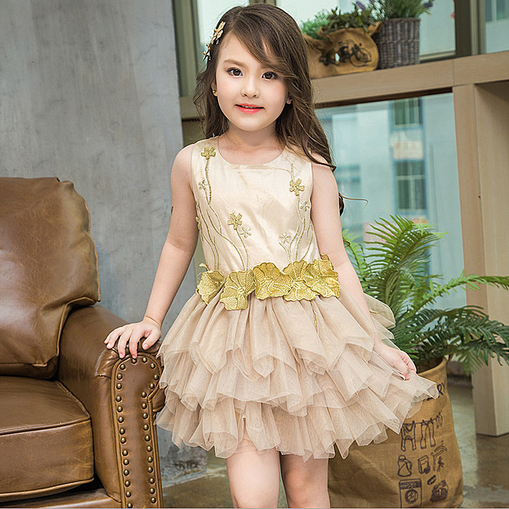 3279 Golden 3D Flowers Costume Baby Girls Dress kids dresses for girls party wedding tutu dresses wholesale kids toddler clothes