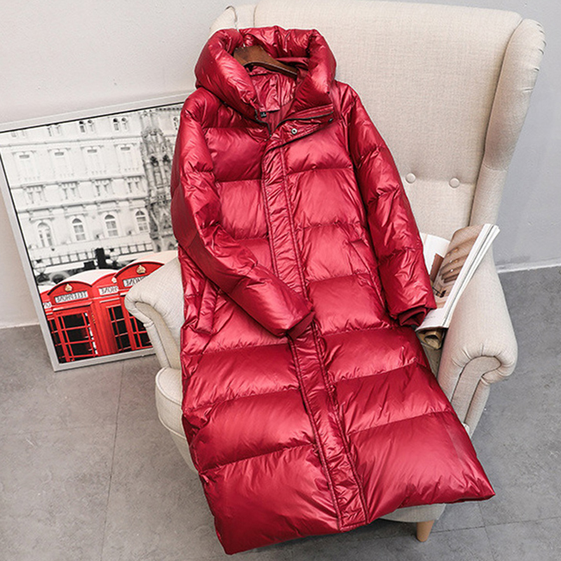 2019 Autumn Winter 90% White Duck Down Long Women Coat Female Thick Warm Parkas Women Down Hooded Jacket Women