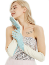 women custom made elbow long oblique two colors real leather gloves light blue&beige