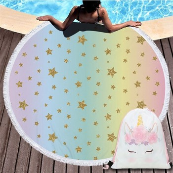 Cartoon Unicorn 150cm Round Beach Towel Wall Tapestry Picnic Blanket Portable Outdoor Sport Storage Bag Bundle Pocket Kids Gift 9