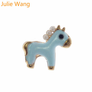 Julie Wang 5PCS Alloy Gold Base Blue Enamel Pearl Horse Little Foal Charm Necklace Pendant Earrings DIY Accessory Jewelry Making image