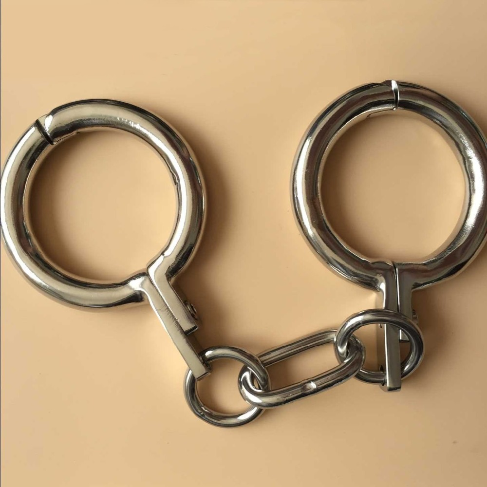 New style stainless steel handcuffs metal bondage wrist restaints bdsm slave hand cuffs sex products for couples adult games stainless steel spreader bar leather harness hand ankle cuffs metal bondage restraints frame adult games sex tools for couples