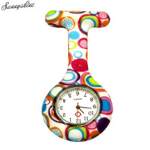 Fashion Clock Colored Circles Nurse Clip-on Fob Brooch Watches Pendant Hanging Pocket Watch wholesale