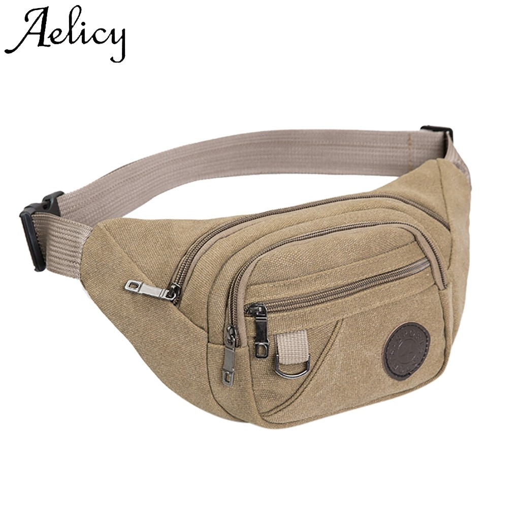 Aelicy Man Fashion Belt Bag Fanny Packs Multifunction Outdoor Waterproof Chaos Bum Bag High Quality Solid Bag Phone Pocket