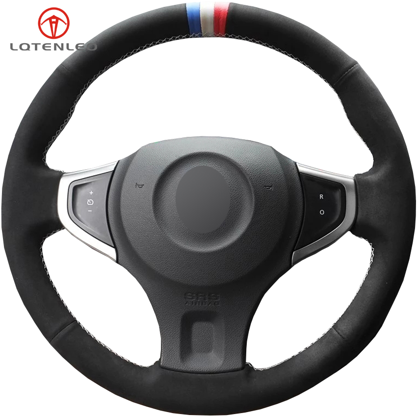 LQTENLEO Black Suede DIY Hand stitched Car Steering Wheel Cover For Renault Koleos 2009 2016 Samsung