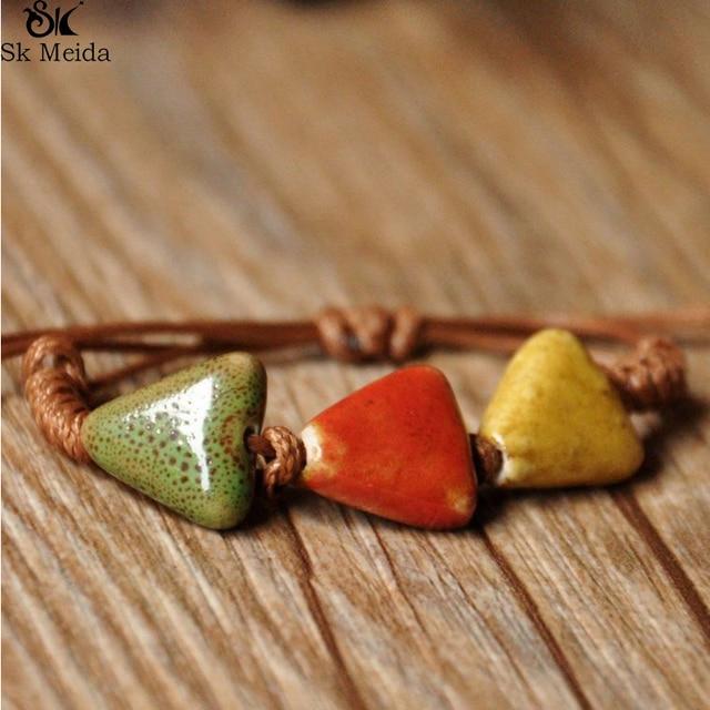 Ethnic Bracelet Handmade Braided Bracelet Unisex Geometric Ceramic Jewelry Adjus