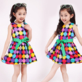 Girls 2016 summer new fashion dress mutil-color dot sleeveless o-neck dress free shipment for girls causal kids party dress