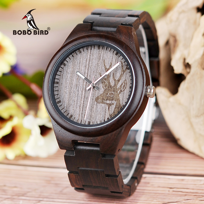 BOBO BIRD Top Brand Men Watches All From Wood Quartz Elk Watch Wooden Band Wristwatch Relogio Masculino B-I26
