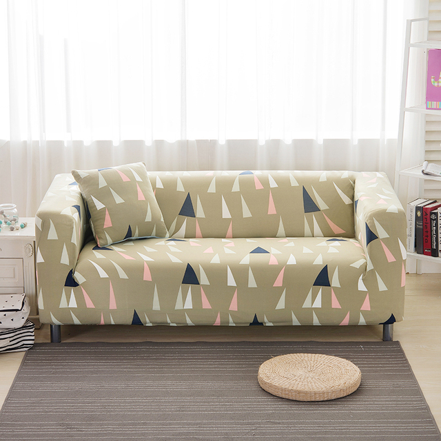 Geometric Pattern Design Triangle Stretch Elastic Fabric Sofa Cover Fresh  Green L Sofa Cover Multi