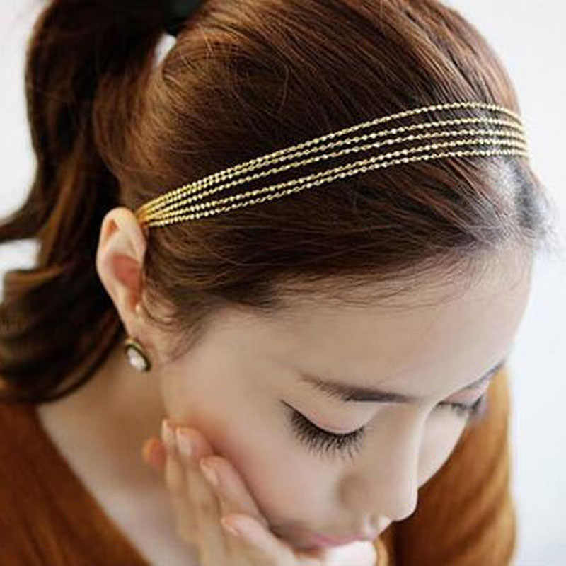 Fashion Elastic Headband Hair Band Accessories Multi Gold Chains Hair Accessories Head Chain Hair Jewelry