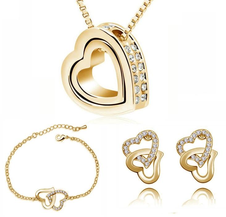 Double Heart pendant necklace earrings bracelets fashion Jewelry sets charms top quality AAAA+ rhinestones wedding