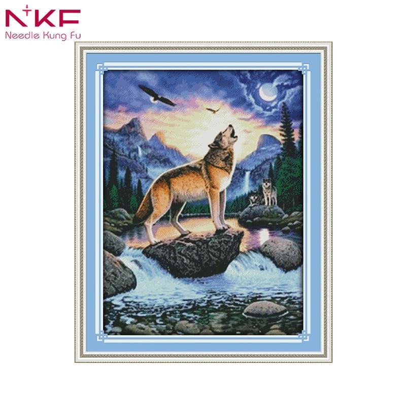 NKF hurlant loup point de croix Kits de broderie 14CT Animal neige coton fil peinture broderies DMC nouvel an décor à la maison