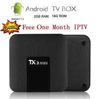 Satxtrem TX3 Mini Android 7.1 TV Box Smart TV H2.65 IPTV 4K Set Top Box Media Player Amlogic S905W 2G 16G+One Month EUROPE IPTV