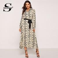 Sheinside Waist Belted Snake Print Party Dress Women 2018 Autumn Long Sleeve Shirt Dress Elegant Office Ladies Workwear Dresses
