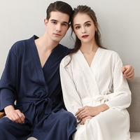 Women Men Couple Lover Sleepwear Nightwear Kimono Robe Plaid Summer Autumn Casual Cotton Bathrobe Belt Elegant Bathroom Spa Robe