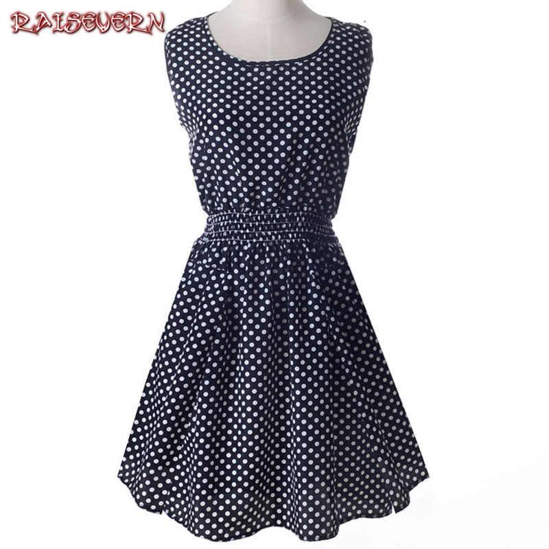 RAISEVERN плюс размеры XXL модные платья без рукавов 2018 пикантные Vestido летнее  платье в горошек шифон 6dc89cf610c
