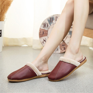 Image 3 - ST SUPER TRADE Winter Women Leather Slippers Home Shoes Sheepskin Slipper Warm Comfortable Thick Bottom Slippers