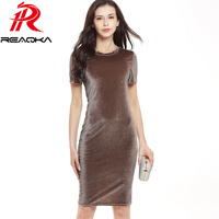 Reaqka 2017 Women Brown Velvet Sheath Dresses Summer Ladies Round Neck Short Sleeve Knee Length Elegant