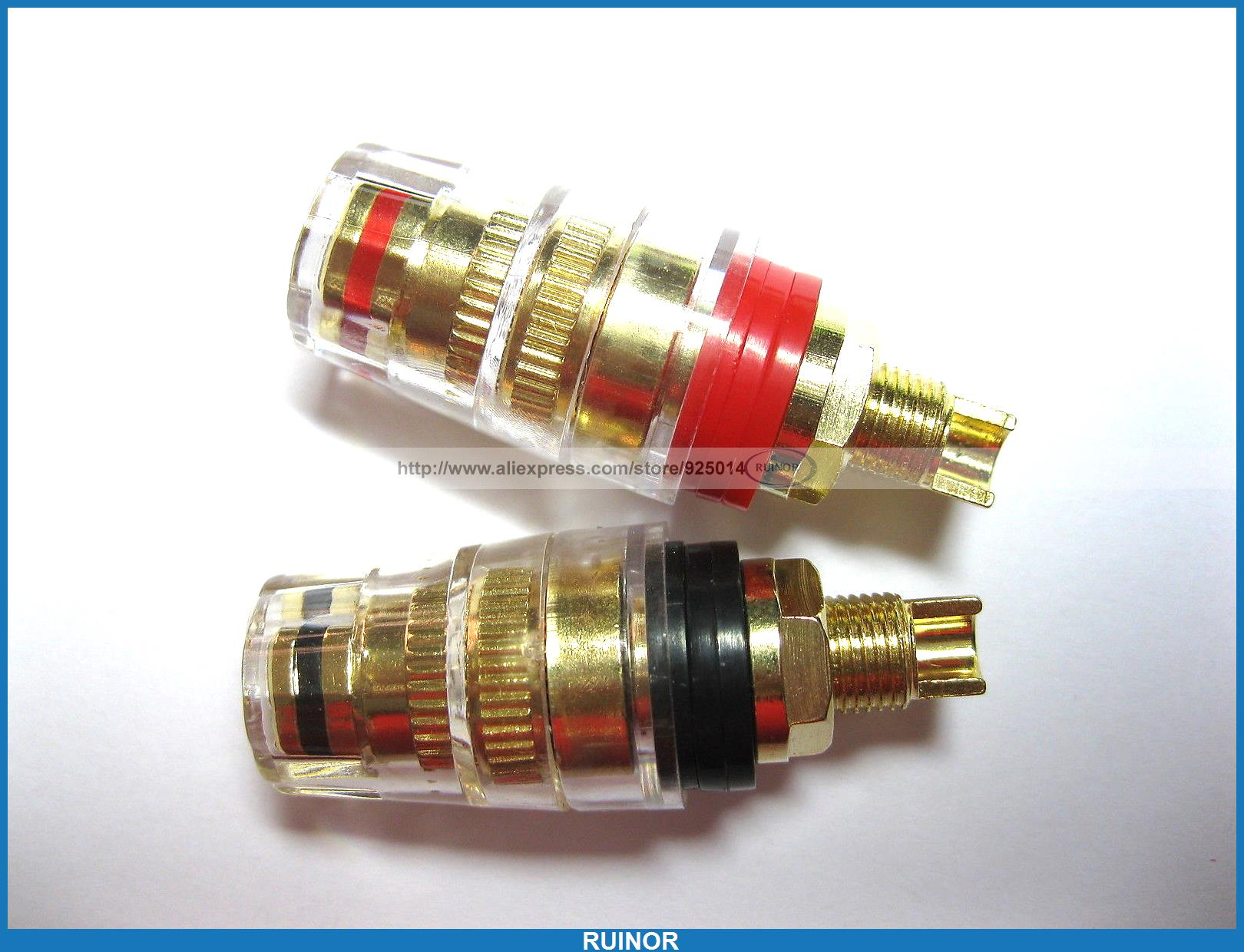цена на 10 Pcs Audio Speaker Cable Binding Post Connector Gold Plated Solder Type M 46mm