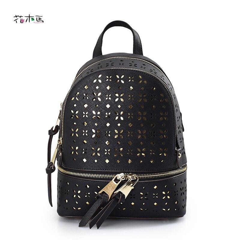 Women Backpack Leather Backpack Hollow Out Fashion Rucksack Waterproof Bags For Women 2017 Feminina Mochila Shoulder Bag D0D5