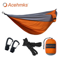 Acehmks Hammock Double Portable Folding Ultralight Parachute Nylon Camping Hammocks Garden Swing With 2 Aluminum Alloy