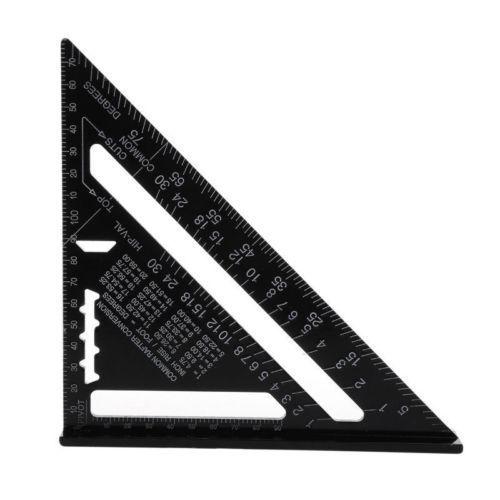 Règle dangle 7/12 pouces métrique en alliage daluminium triangulaire mesure règle boiserie vitesse règle carrée Triangle Angle rapporteur