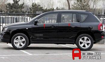 Pour Jeep boussole 2011-2015 cadre de fenêtre inférieur en acier inoxydable garniture de couverture de seuil décoratif 4 pièces