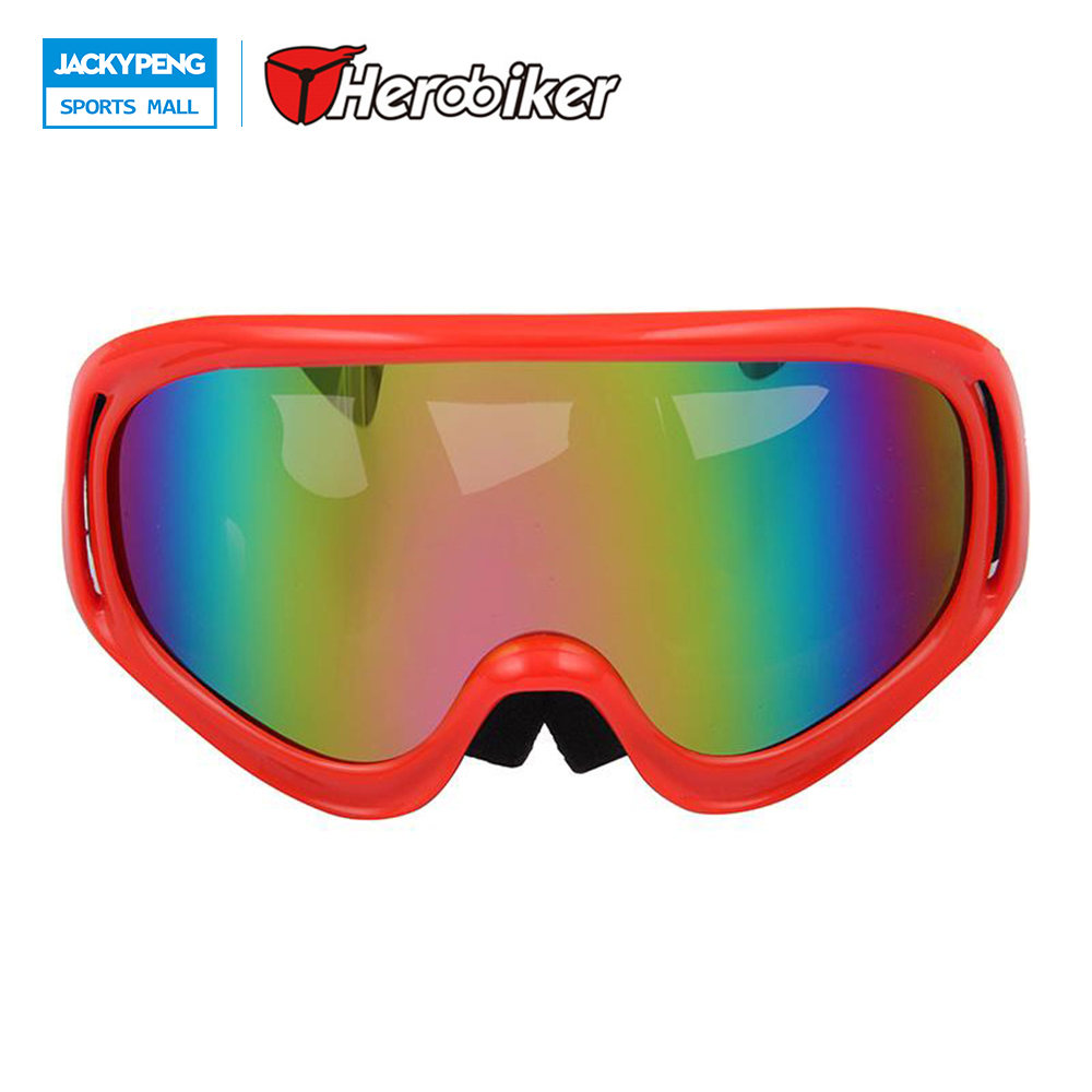 HEROBIKER Ski Snowmobile Motorcycle Off-Road Goggles Eyewear Red Frame Clear Lens Scooter Moto Glasses T815-3
