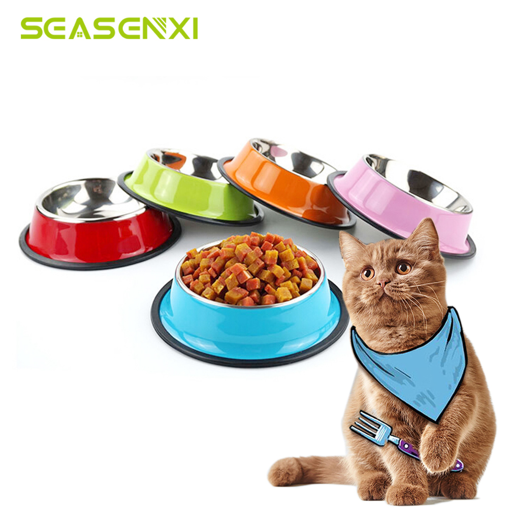 Stainless Steel Bowl For A Cat Kitten Durable Colorful Bowls For Cats Mascots Anti Skid Kitten Cat Bowl For Dogs Pet Products