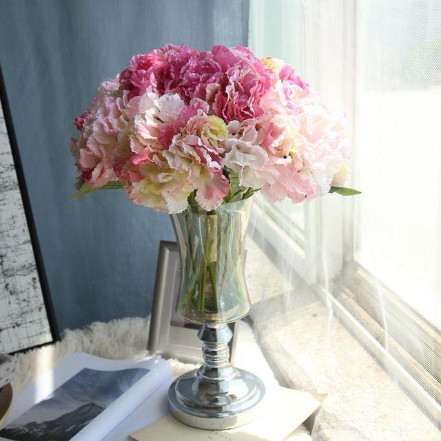 Fashion Buatan Hydrangea Bunga Kain Sutra Plastik Pernikahan Supplies DIY  Rumah Dekorasi untuk Ulang Tahun Pesta ed9ee954c3