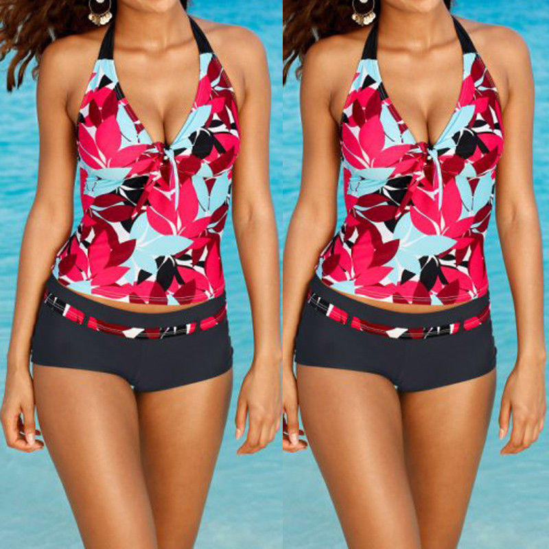 2017 Plus Size Sexy Women Tankini Swimsuit Push Up Bikini Set One piece Ladies Swimwear Beachwear twist push up peplum print tankini set
