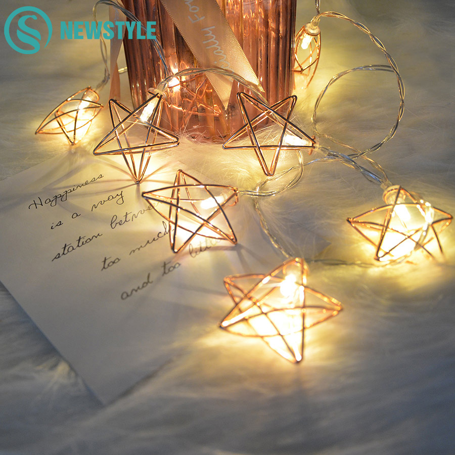 1.5m Rose Gold Sting Fairly Light Warm White 10 Leds Aa Battery Operated Fairy Light Star Pineapple Hexagon Diamond String Light To Win A High Admiration And Is Widely Trusted At Home And Abroad.