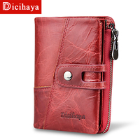 DICIHAYA 2018 New Style Genuine Cowhide Leather Women Medium Paragraph Buckle Leather   Wallet   Women's High Quality Coin Purse