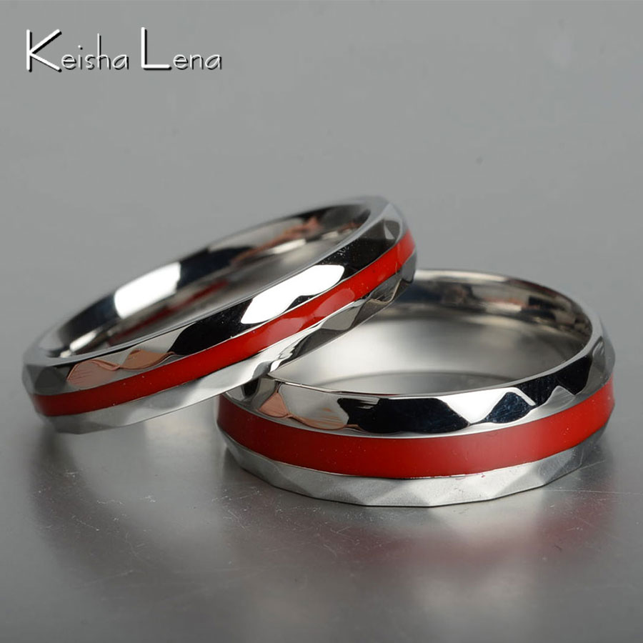 keisha lena hot sale red line firefighter rings for men women lovers couple ring 316l stainless steel engagement jewelry - Firefighter Wedding Rings