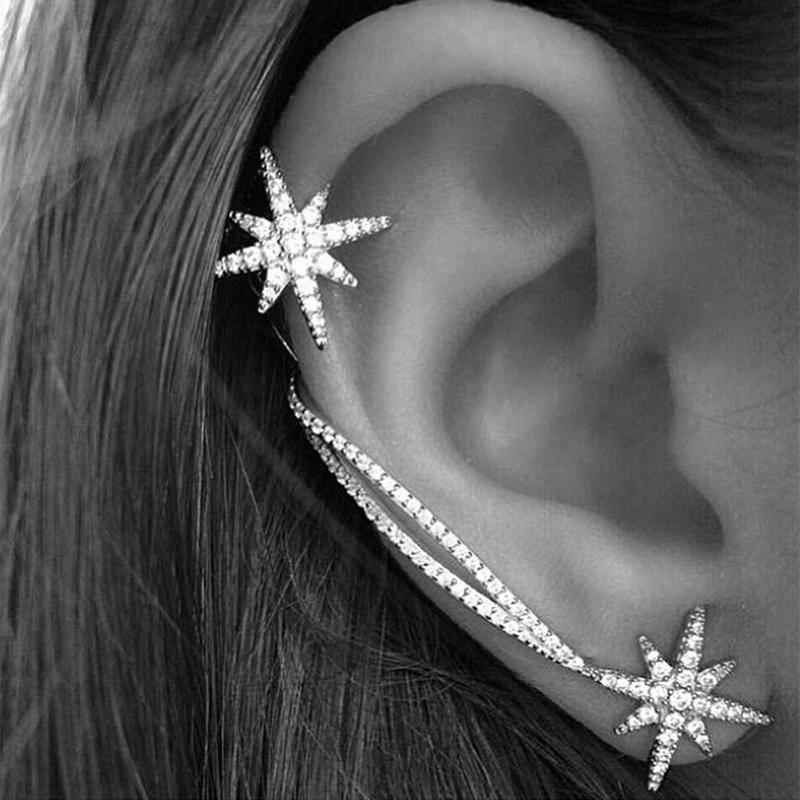 1 Paire Asymétrique Femmes strass cristal d/'oreille de Goujon étoile Boucles D/'oreilles Bijoux